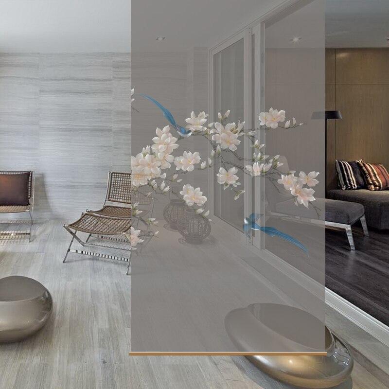 Rideau de séparation d'écran suspendu sur le rideau de salon moderne [magnolia bleu magpie]