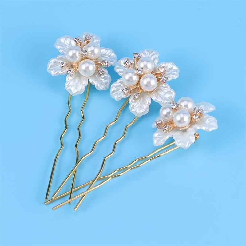 3 шт. u-образные Цветочные Шпильки заколки для волос модные жемчужные заколки свадебные шпильки для свадебной вечеринки помолвки
