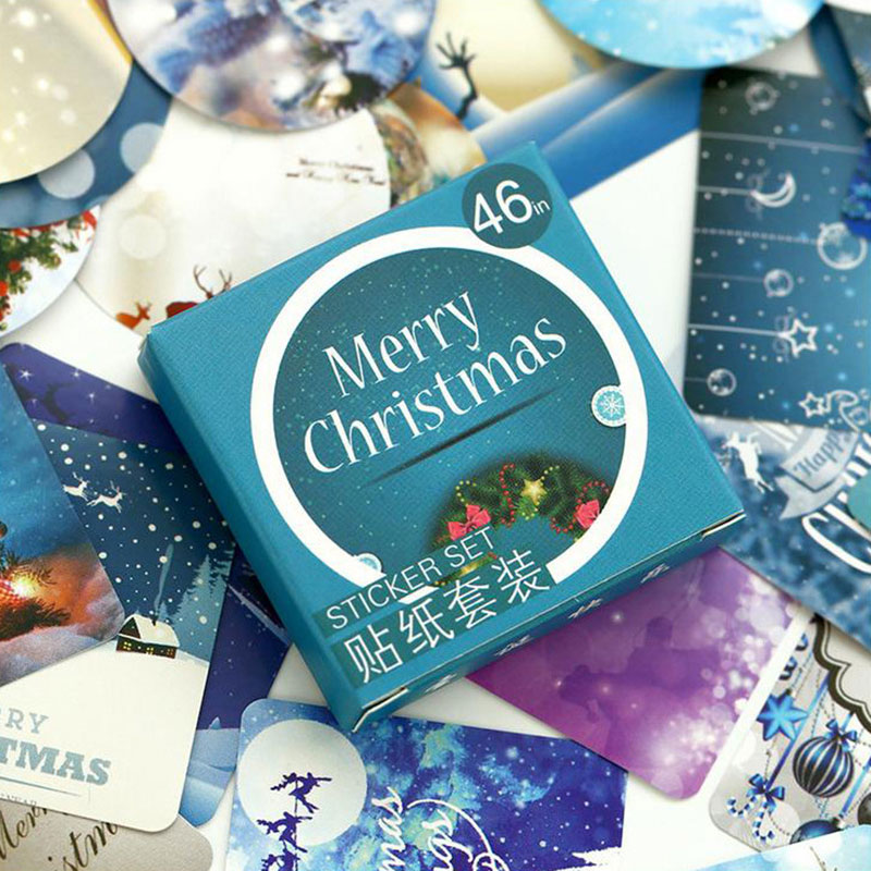 46 Pcs/Lot Merry Christmas Box Sealing Special Shaped Stickers Stickers Diy Hand Account Button Envelope Gift Bag Sealing