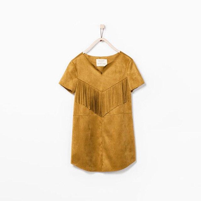 Baby Mädchen Quasten Wildleder Kleid Brown Vintage Mode Kleider ...