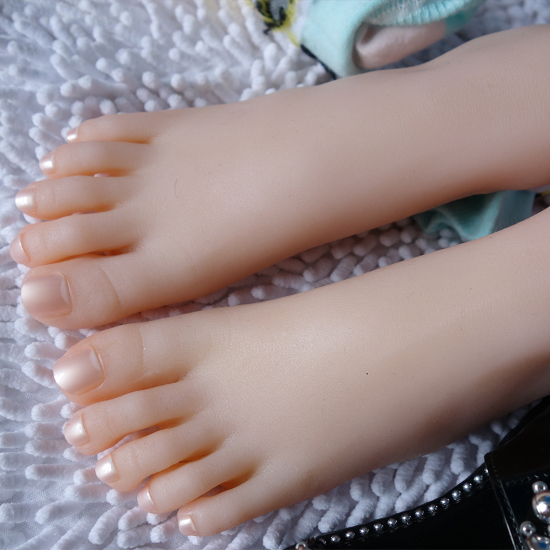 Full Silicone Female Foot,Sex Doll Real Skin,Realistic Mannequin Foot, Shoes Display 30# F806 new 2pcs female right left vivid foot mannequin jewerly display model art sketch