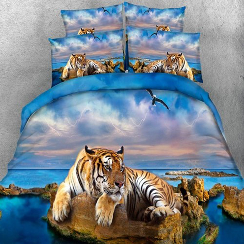 2/3PCS Lying Tiger LioneComforter Bedding Sets Beach tiger Duvet Cover Set Blue Bed Cover 3D Quilts Bedclothes Queen King