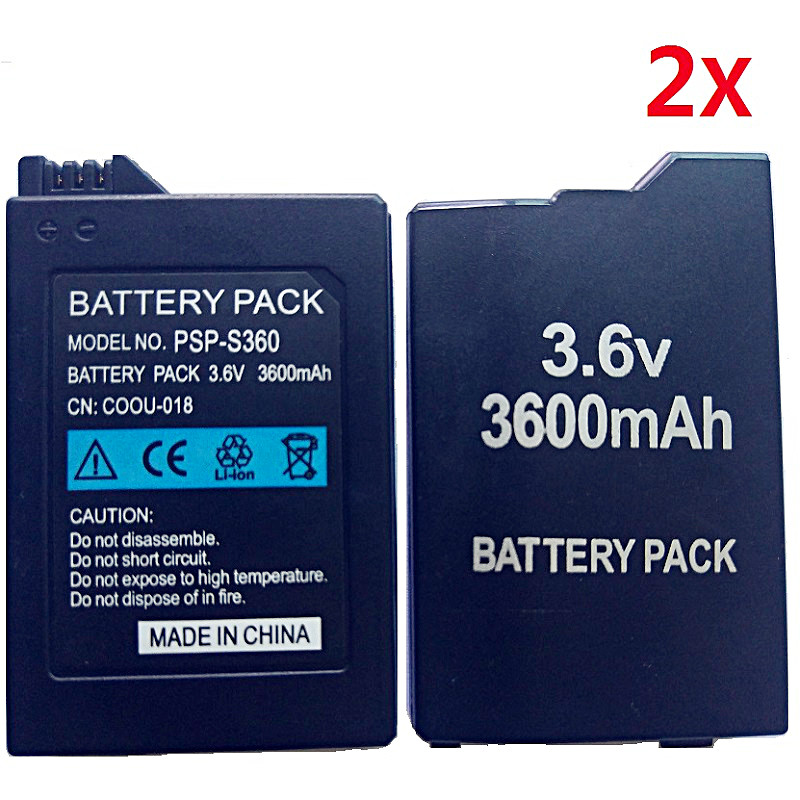 2Pcs Battery for Sony PSP2000 PSP3000 PSP 2000 PSP 3000 Gamepad PlayStation Portable Controller 3600mAh New Replacment Batteries hothink 2in1 charging charger usb cable for psp 1000 psp 2000 psp 3000 psp 3001 3004