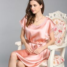 Luxury 100% Real Silk Womens Nightgown Summer Short Sleeve With Belt Nightdress Sleepwear Natural Night Dress For Women