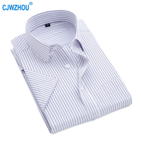 2019 New Summer short sleeve turndown collar non iron easy care plaid striped business men smart casual shirts good quality D82