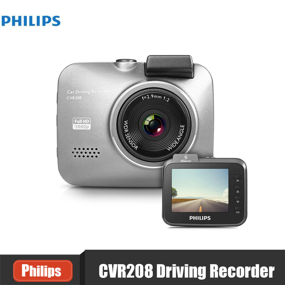 Original PHILIPS CVR208 Car DVR Camera Mini Dash Cam 140 degree 1920 x 1080P HD WDR G-se ...