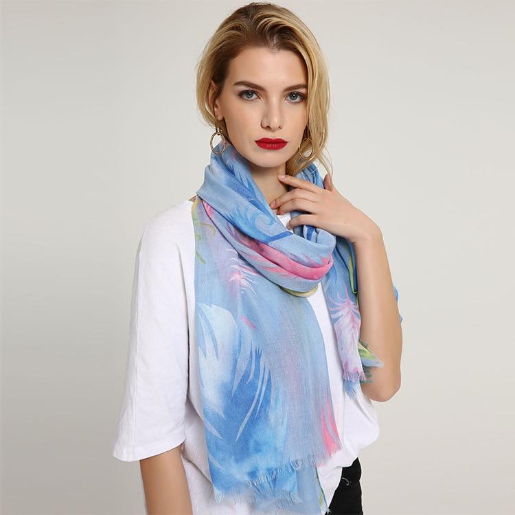 New Scarf Feather Graffiti Print Scarf Shawl Premium Women Scarves Fashion Muslim Hijab Scarfs Muffler Wrap Na&den Hijab