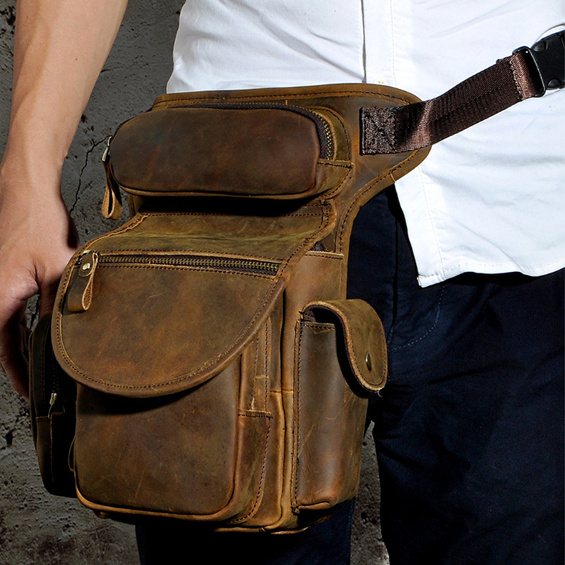 Genuine Leather Thigh Drop Leg Bag Fanny Pack Men Military Motorcycle Messenger Bag Hip Belt Crazy