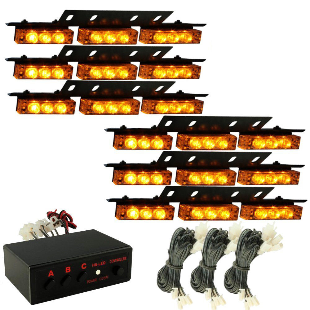 54 LED Emergency Car Strobe Light Bars Warning Deck Dash Grille Amber Yellow 54LED