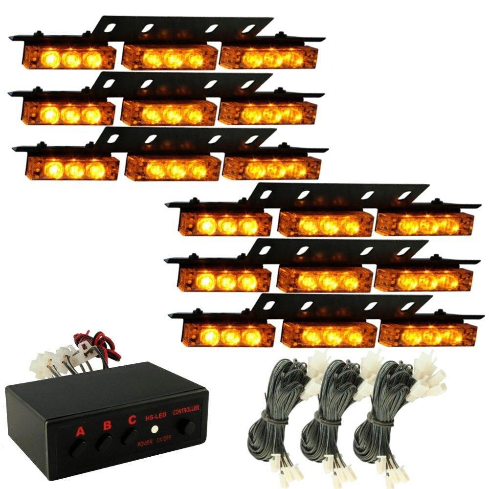 CYAN SOIL BAY 54 LED Emergency Car Strobe Light Bars Warning Deck Dash Grille Amber Yellow 54LED 6X 9LED Lamp