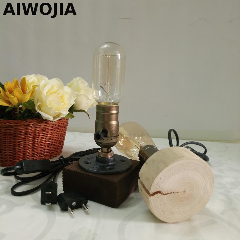 Bar Tischleuchte Schreibtisch Licht Holz Lampen Loft Retro Caf Tisch Lampe Vintage Dimmbare