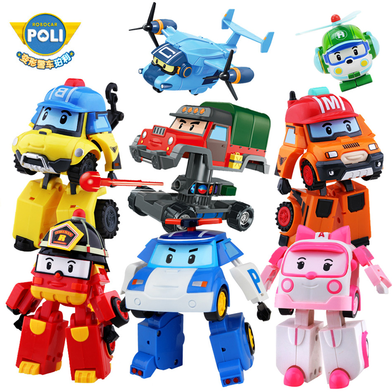 2pcs/4pcs/6pcs/Set Robocar Poli Korea Kids Toys Acion Figure Robocar Korea Robot Car Transformation Poly Toys Gift For Children