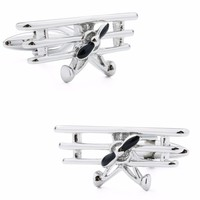 High Quality Stylish Rhodium Plated Vintage Plane Shape Sliver Cufflinks Engraved