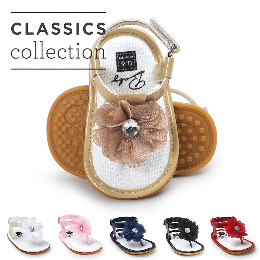 Baby Girls Shoes Floral Princess Beautiful Flower Sandals Flat Roman Non Slip Soft Sole Sneakers Newborn Infant