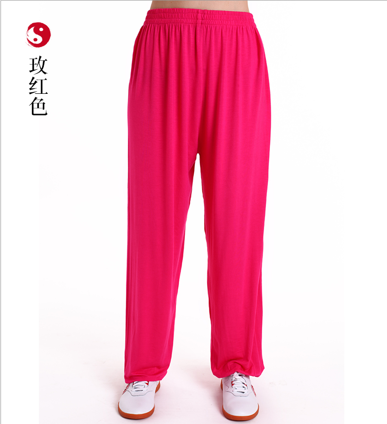 Men Women Martial Arts Tai Chi Yoga Pants Acrobatics Pants Kung Fu Cropped Pants Fitness Dance Running Pants Ice Silk