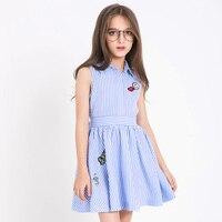 2017 Summer Girls Princess Dress Striped Designs Red Lips Teens Dress Sleeveless Sweet Party Kids Dresses For Age 7 8 9 10 11 12