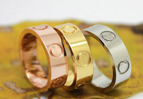 4/6mm Women men Famous brand crystal Fashion Jewelry carter love rings luxury titanium steel Rose Gold bijoux couple lovers ring