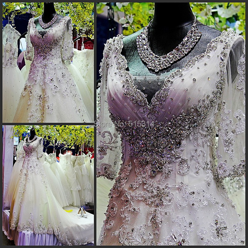 A-line beaded  lace applique wedding dress with sleeves and a train sweetheart wedding gowns china online store bride dress M94