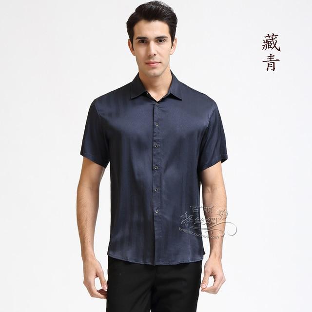 Men of high-grade real silk crepe DE chine satin spring/summer leisure short-sleeved shirt