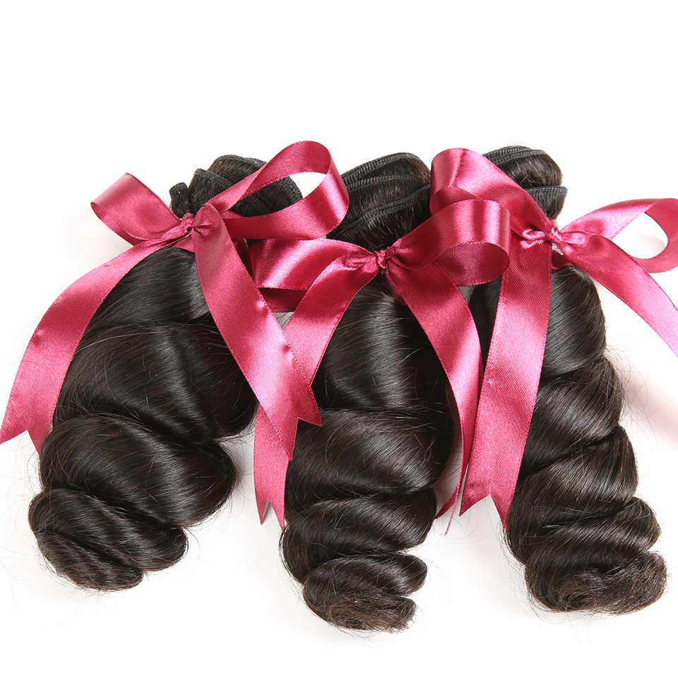 Mechones de cabello peruano con ondas sueltas con cierre Karizma, mechones de cabello humano ondulado peruano con cierre de encaje, cabello no Remy