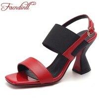 FACNDINLL Fashion Henuine Leather Summer Shoes Woman Gladiator Sandals 2018 New High Heels Open Toe Women