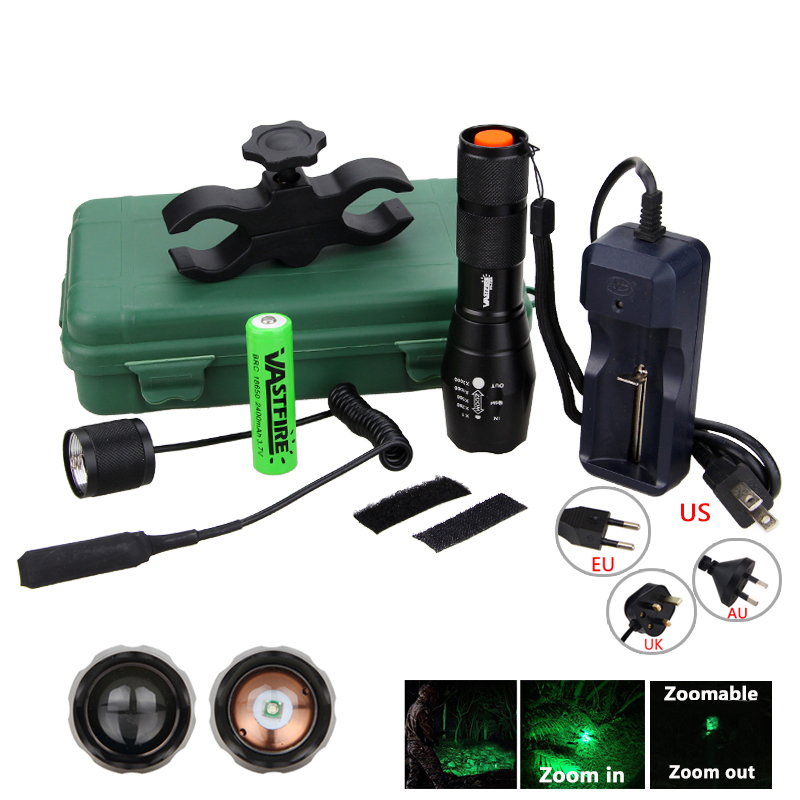 Green/Red Hunting Light 5000 Lumens Tactical Adjustable Focus Torch +Hunting Mount+18650 Battery Set+Box+Remote Pressure Switch