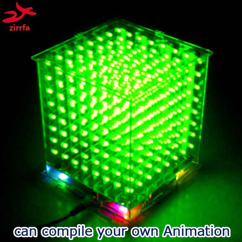 3D 8 8x8 x cubeeds 8 luz led eletrônico kit diy com excelentes animações para Ardino, display led