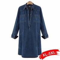Europa Autunno Dames Jurk Plus Size Manica Lunga Donna Blu Denim abito A Maniche Lunghe Sexy Mini Clubwear Jeans Abiti 5Xl 3Xl 4Xl Xs