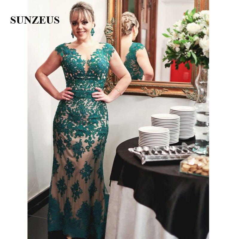 Cap Sleeve Sheath Ladies Dresses for Wedding Party Scoop Emerald Green  Appliques V Back Mother of the Bride Dresses SMD11-in Mother of the Bride  Dresses ... ed10498cf214
