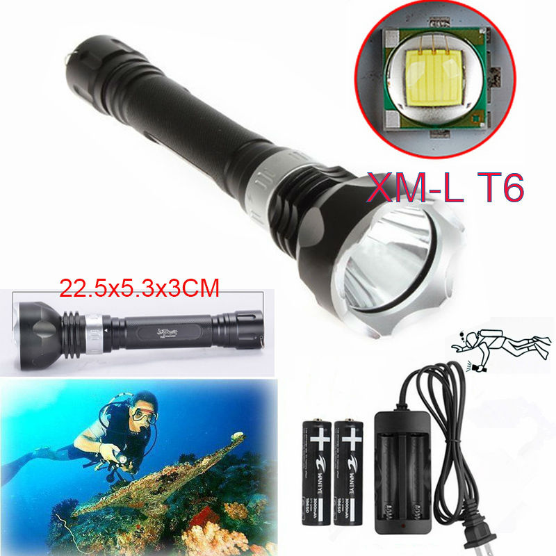 Hot Diving Flashlight 3800LM XM-L T6 LED Waterproof Torch lantern Underwater Dive Lamp Light+2x18650 battery+charger 5x xml l2 12000lm led waterproof diving flashlight magswitch diving torch lantern led flash light 2x18650 battery charger
