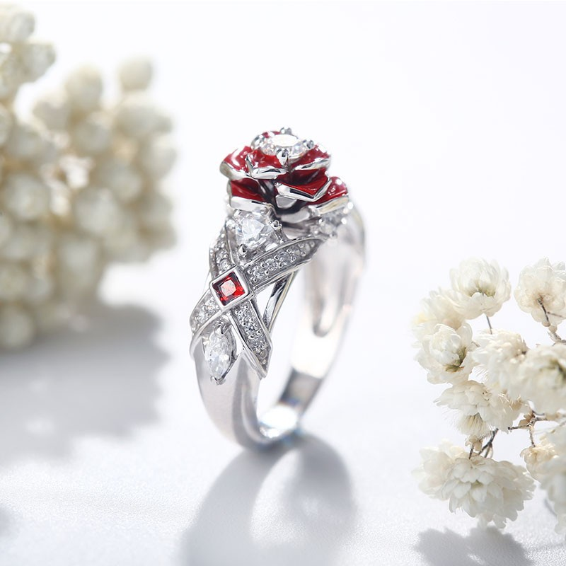 Unique Rose Promise Rings For Her Purple Rose Flower Design 3