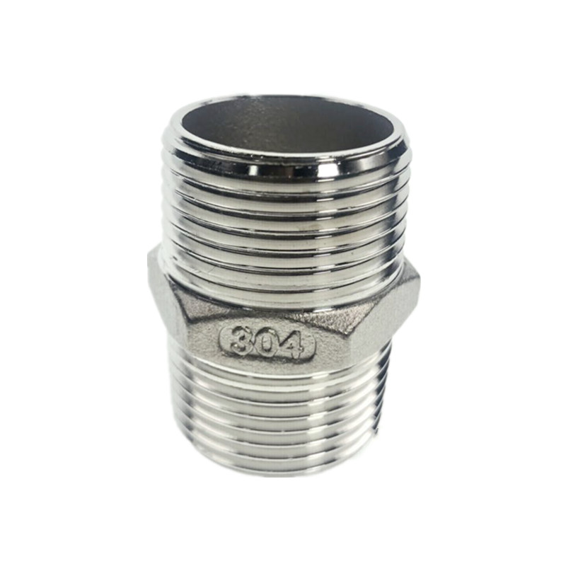 WZJG Male Straight Hexagon Joint Nipple Pipe Connection 304 Fittings Stainless Steel Threaded 1/2