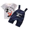 Ratón de dibujos animados Ropa de Bebé Niño Establece 2017 Nuevo Niño Niños Juegos de Ropa de Verano de La Manera Ropa de Los Cabritos t-shirt + Suspender Pantalones T548