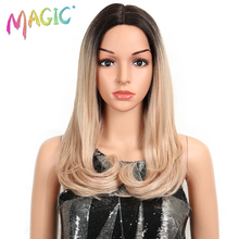 MAGIC Hair 20Inch Brown Pink Ombre Wig Straight Heat Resistant Synthetic Hair Lace Front Fiber Wigs For Black/White Woman wignee hand made front ombre color long blonde synthetic wigs for black white women heat resistant middle part cosplay hair wig