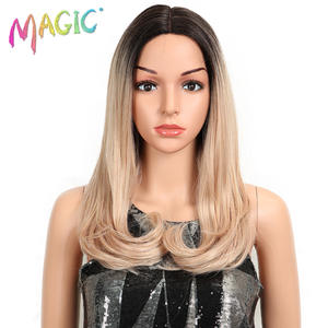 MAGIC Ombre Wig Fiber Heat-Resistant Brown Lace-Front Pink Straight Black/white 20--Inch