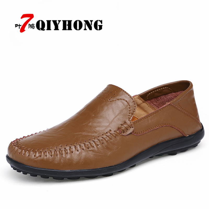 Fashion Casual Luxury men leather shoes 2018 Summer Breathable Soft Genuine Leather Flats Loafers Men Shoes Large size 38-47 luxury brand summer men shoes genuine leather big size men driving shoes good quality soft men loafers comfortable breathable