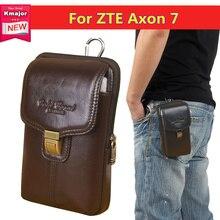 Роскошная натуральная кожа носить Зажим для ремня Талия мешок кошелек чехол для ZTE Axon 7 сотовый телефон сумка Бесплатная доставка