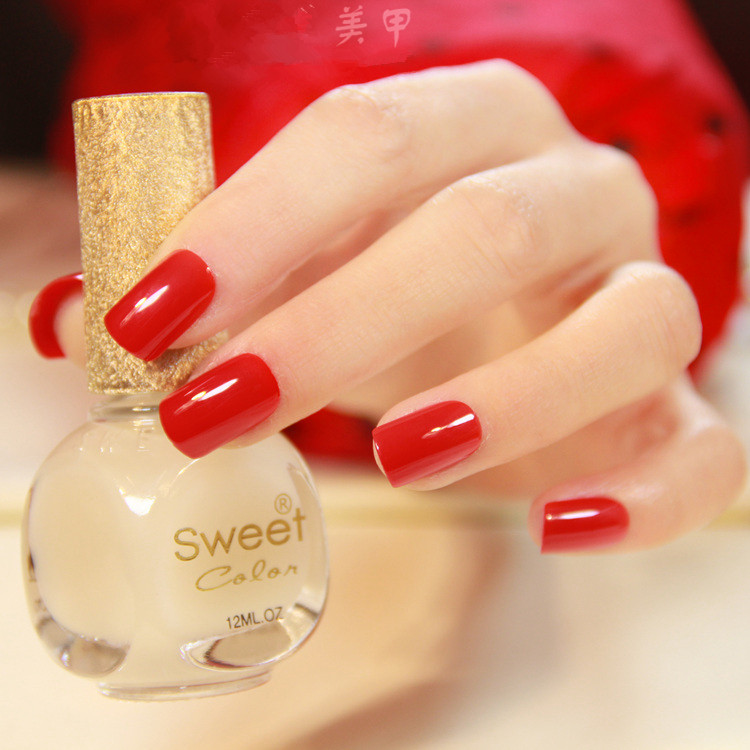 Beautiful Chinese red false nails french Pure color cute fake nails ...