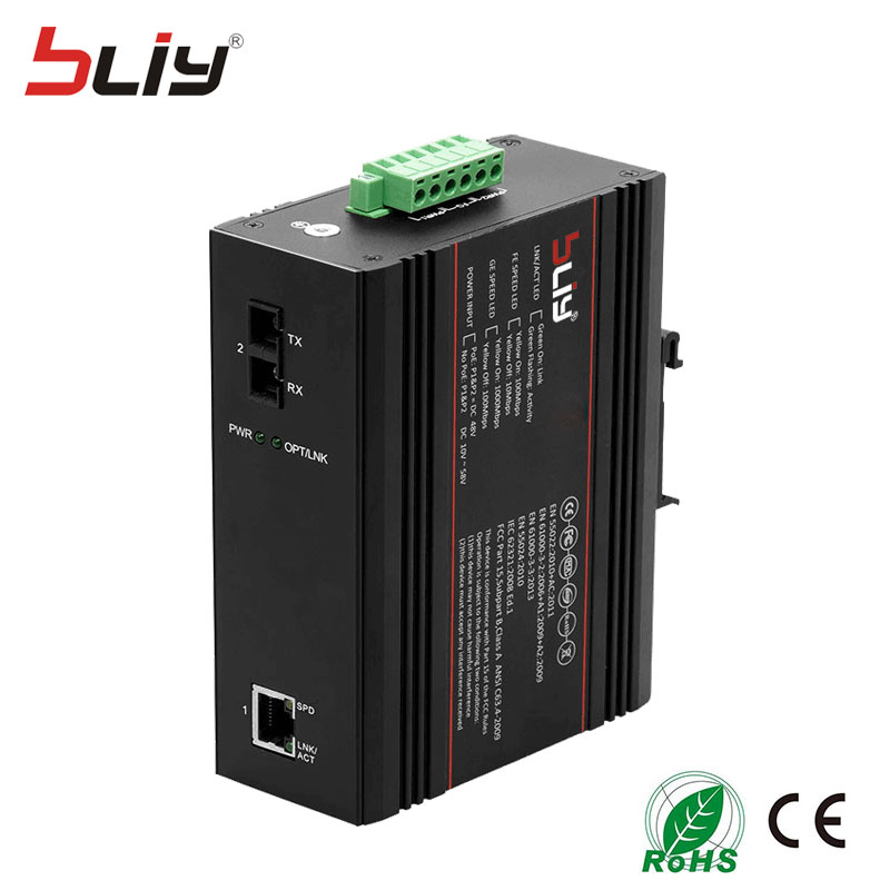100M 2 port industrial switch dual fiber to rj45 unmanaged industrial ethernet network switches