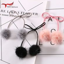 Best selling mink plush jewelry accessories real mink fur grass creative plush pendant DIY handmade accessories hair band femal(China)