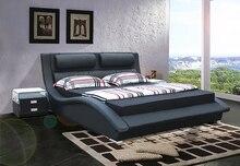 Diseñador moderno bienes cuero genuino de la cama / soft / cama doble tamaño king / queen muebles para el hogar dormitorio estilo americano
