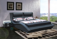 designer modern real genuine leather bed / soft bed/double bed king/queen size bedroom home furniture American style(China)