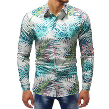 New printed long-sleeved shirt European and American style Slim mens large size
