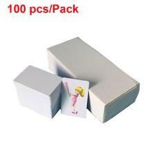 100 unids/lote de tarjetas de PVC blancas, tarjetas de identificación de negocios impermeables, tinta de inyección de tinta/tinta de pigmento puede imprimir directamente en
