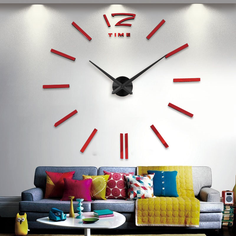 Big Wall Clock Home Decoration Large Mirror Diy Wall Clock Designer Modern Design Personality 24 Hours Online Free Shipping