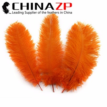 "CHINAZP Factory Size 10""-12"" (25-30cm) 100pcs/lot Selected Prime Quality Dyed Orange Ostrich Plumage Feathers"