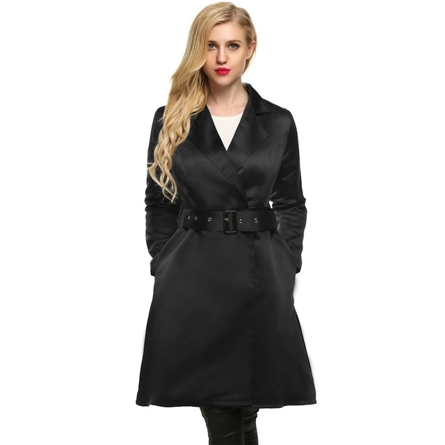 Spring Autumn Women Elegant Trench Coat Long Outwear Plus Size 2XL Slim Trench Coat with Belt
