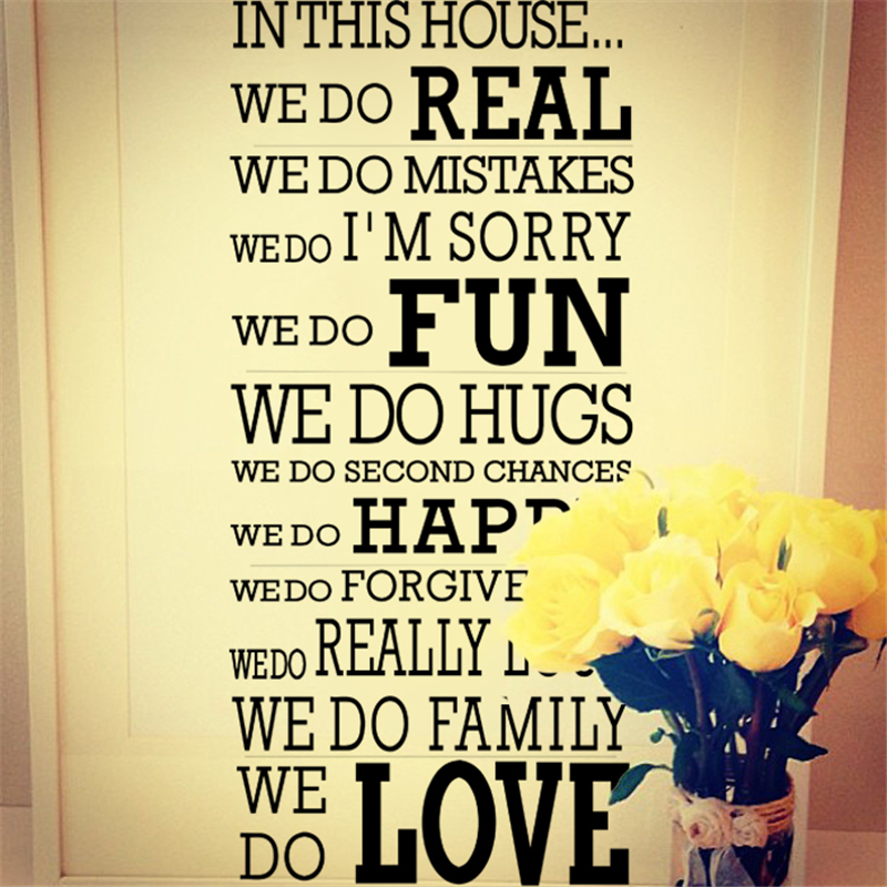 house rules family love vinyl wall stickers quotes living ...Quotes About Family English
