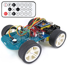 فتح الذكية 4WD اللاسلكية IR التحكم عن بعد المطاط عجلة موتور تروس عدة السيارة الذكية مع البرنامج التعليمي لاردوينو UNO R3 نانو Mega2560