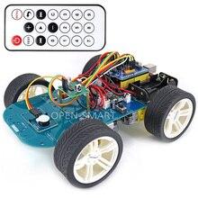 Open smart 4wd sem fio ir controle remoto roda de borracha do motor da engrenagem do carro inteligente kit com tutorial para arduino uno r3 nano mega2560
